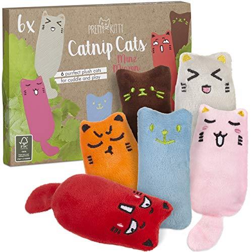 6x Minz Miezen: Premium Katzenspielzeug Set aus Katzenkissen mit Katzenminze – 6x...