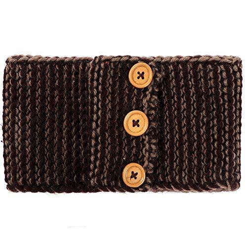 El Regalo's 1 PC Knitted Headband with Button Warm Crochet Chunky Ear Warmer for Women | Knitted Headwrap Headband Ear Warmer Hair Muffs Band (Brownish)