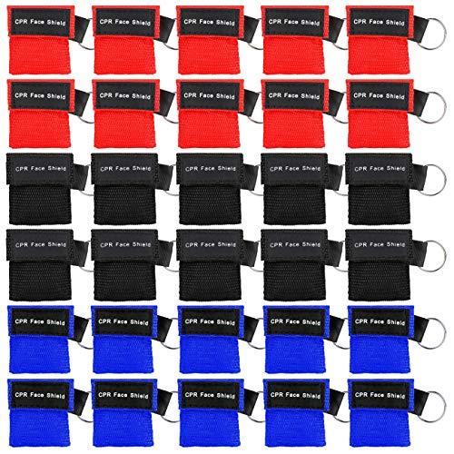 Homealexa Beatmungsmaske, CPR Maske Schlüsselanhänger 30 Stücke Beatmungstuch mit Rückschlagventil Atmen Barriere - 10 Schwarz + 10 Rot + 10 Blau