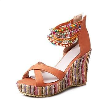 Bohemian Handmade Beaded Beach Shoes Super High Heel Sandals (Color : Orange, Size : 38EU)