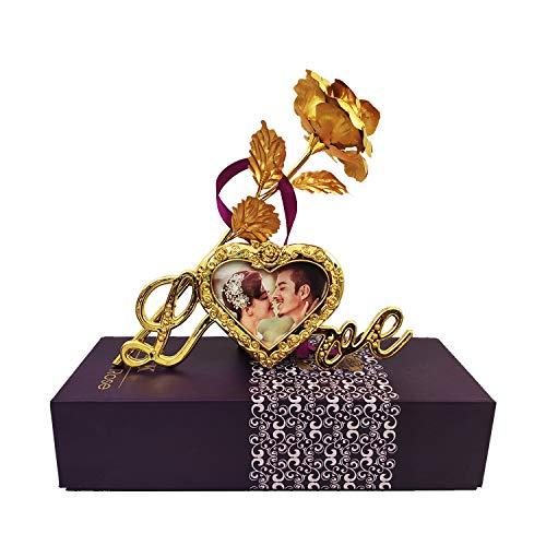 Whopper 24K Golden Color Rose con Marco de Fotos y Caja de Regalo con una Bonita Bolsa de Transporte Expresar Amor en el día de San Valentín, Rose Day, Aniversario o decoración.