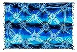 Ciffre Sarong Strandtuch Tuch Schal Lunghi Pareo Dhoti Wickelrock Blume Sommer Blau + Schnalle