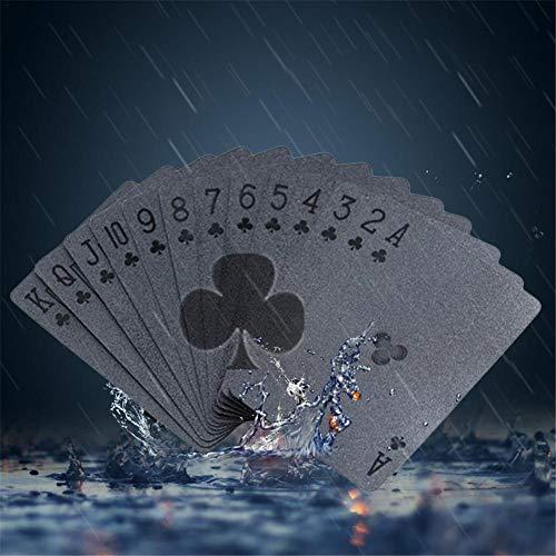 Ritapreaty Spielkarten, Schwarze Matte Plastic Poker Karten PET Wasserdichte Spielkarten für Kartenspieler Familienparty BBQ Spiel