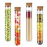 Vockvic 12 piezas Tubo Ensayo Plástico Tubos Ensayo Plástico con corchos naturales, Transparente de Laboratorio Tubos 20 x 150mm para Artesanía Decoración Almacenamiento De Confitería Especias