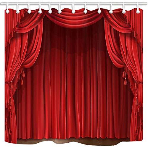 Dana34Malory cortina de ducha clásica para decoración de teatro, cortina de escenario rojo retro, cortinas de baño de tela de poliéster con ganchos, 48 x 72 pulgadas
