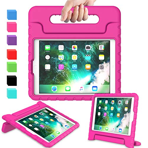 AVAWO Kids Case for iPad 9.7 2017/2018 & iPad Air 2 - Light Weight Shock Proof Convertible Handle Stand Friendly Kids Case for 9.7-inch iPad 5th & 6th Gen, iPad Air 1 & iPad Air 2 - Magenta/Rose