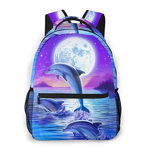 FeHuew Girls Fantasy Galaxy Moon Dolphin Backpack Bookbag 16 Inch Shoulder Bag Daypack For 1-5th Grade