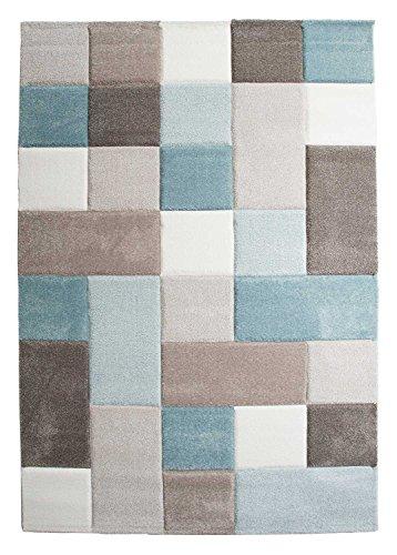 Wohnzimmerteppich Kurzflorteppich Maschinenwebteppich Teppich | 80x150 cm | Pastelltöne