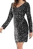 Women's Sparkle Glitzy Glam Sequin Long Sleeve Sexy Deep V Neck Bodycon Stretchy Mini Flapper Party Dress Silver Black