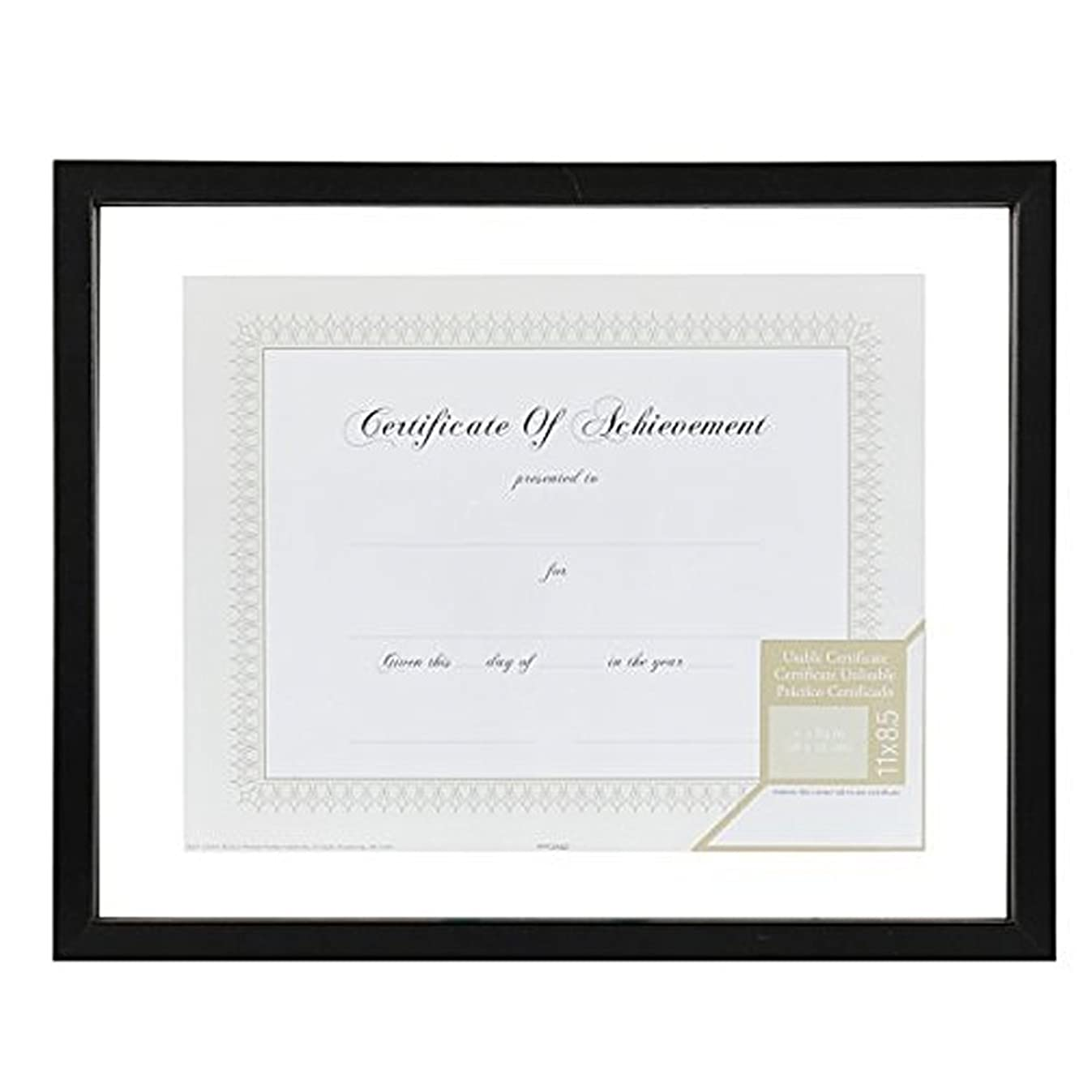 Gallery Solutions 11x14 Document Frame for Floating Display of 8.5x11 Document or Image, Black