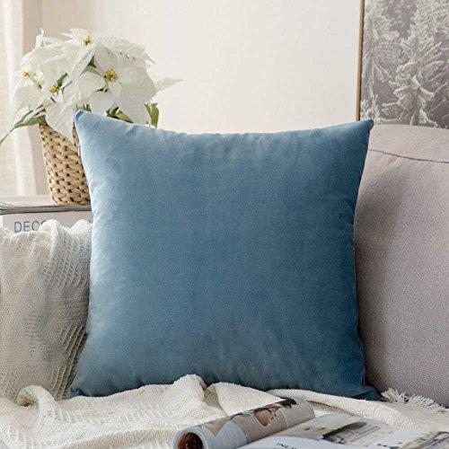 MIULEE 1 Stück Samt Kissenbezug Kissenhülle Dekorative Dekokissen mit Verstecktem Reißverschluss Sofa Schlafzimmer 12x 12 Inch 30 x 30 cm Hellblau