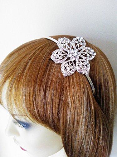 Desire accessori, grande in cristallo con fiore, fascetta per capelli, design a Tiara, motivo: Alice