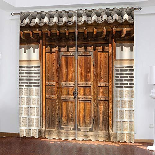 Cortina Decorativa Efecto Puerta De Madera En Color 3D Adecuado para Cortinas De Villas Y Casas De Campo 9 Piezas De Cortinas Super Opacas Fácil Instalación