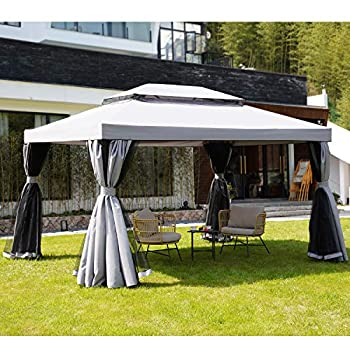 Grand Patio 10x13 Ft Patio Gazebo Outdoor Instant Canopy with Mosquito Netting and Shade Curtains,Sturdy Straight Leg Tent for Backyard & Party & Event