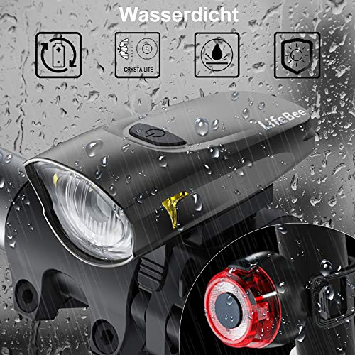 LIFEBEE LED Fahrradlicht, USB Fahrradbeleuchtung Fahrradlicht Vorne Rücklicht Set, Wasserdicht Fahrradlichter Set Fahrrad Licht Fahrradleuchtenset Fahrradlampe Frontlicht mit 2 Licht-Modi - 5