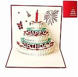 Biglietti augurali Compleanno, Deesospro® regalo di compleanno per i tuoi parenti, amici e amanti, biglietto di auguri pop-up 3D con bellissimi ritagli di carta, busta inclusa (buon compleanno)
