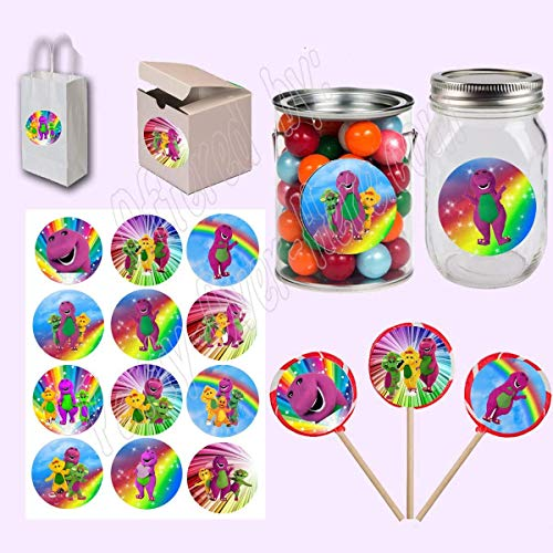 """Barney Stickers, Large 2.5"""" Round Circle Stickers to place onto Party Favor Bags, Cards, Boxes or Containers -12 pcs, Purple Dinosaur, Baby Bop, B.J., Riff"""