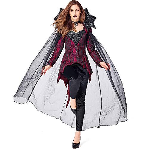 ZmnXnm Costumi di Halloween, Nuova Contessa Europea E Americana Vampiro, Festa A Tema Cosplay, Costume Demoniaco m Vino Rosso e Nero