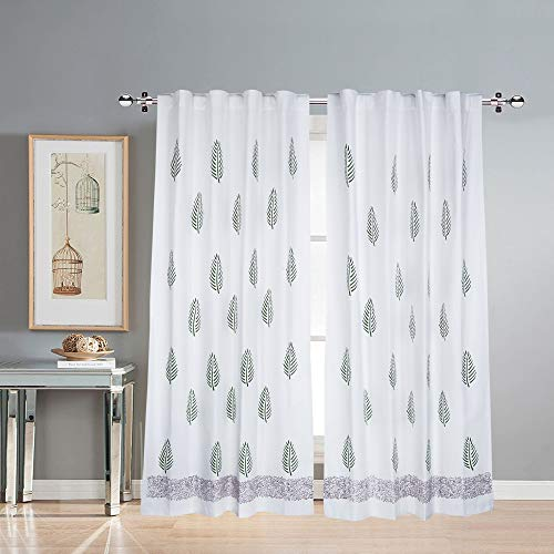 LINENWALAS Prime Cotton Curtains for Doors 7 Feet Set of 2, Linen Textured Doors Curtains for Home Decor, Hangs Elegantly with Back Loops (4.5ft x 7ft, Green Leaf)