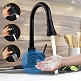 Motion Sensor Touchless Kitchen Faucet,Soosi Automatic Pull Down Kitchen Faucet Single Handle One/3 Hole 3 Setting Sprayer Kitchen Faucets Spot Free Matte Black Lead Free,5 Years Limited Warranty