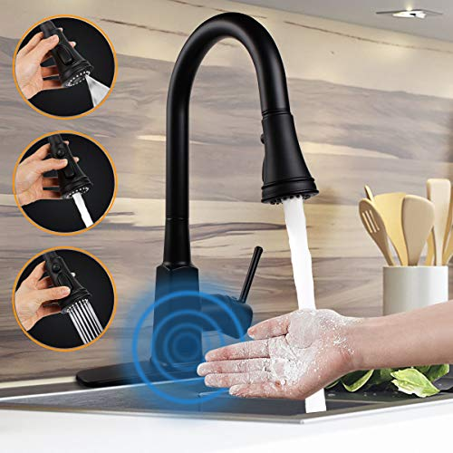 Touchless Kitchen Faucet,Soosi Automatic Motion Sensor Kitchen Faucet Touchless Kitchen Faucets with Pull Down Sprayer Single Handle Hands Free Touch Faucet Kitchen One/3 Hole 3-Function Spot Free