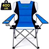 Camabel Camping Chairs 400lbs Outdoor Folding Lawn Chair Padded Foldable Sports Chair Lightweight Fold up Camp Chairs Bag for Heavy Duty Beach Hiking Fishing BBQ Spectator with Cup Holder Blue
