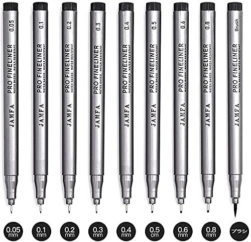 JAMFA 製図ペン ミリペン 9本セット 線幅0.05~1ミリ 水性ペン 漫画用ペン 防水 サインペン  スケッチペン イラストペン 黒いインク 極細 子供用 学習用 事務用 ケース付き