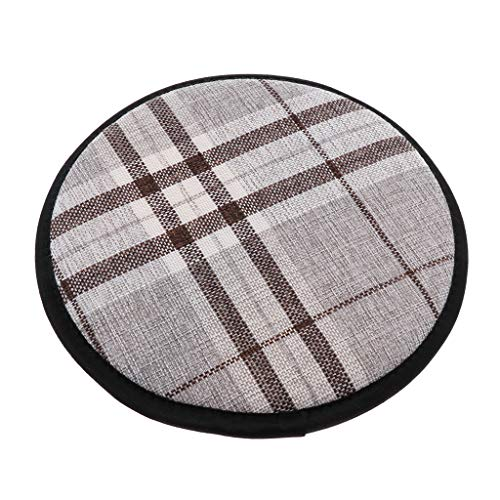 Fenteer Linen Cotton Office Home Chair Cushion Dining Chair Pads with Gripper Backing Dustproof Seat Pads - as described, 33cm