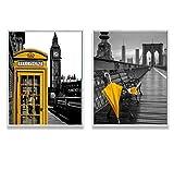Didart Handmade Cuadro decoración salón o dormitorio moderno.Personalizado.Con marco. Díptico,' negro y amarillo'· Elige tamaño,color del marco y color de imagen. Hecho en España.