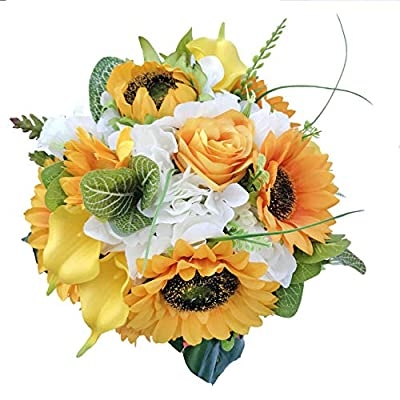 """DALAMODA 10"""" W Sunflower Bouquet Artificial Silk Sunflowers,for Wedding Prom Bridal Bouquet Flower,Any Party dector Pack of 1"""