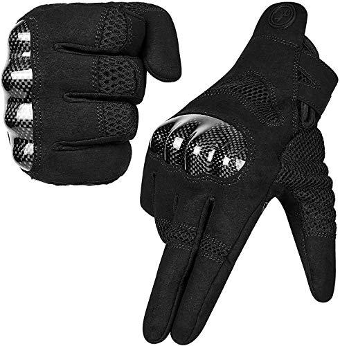 MOREOK Motorradhandschuhe Mit 100% Carbon Harter Knöchelschutz Winddicht Touchscreen Sport Handschuhe Professionelle Motorrad Handschuhe für Herren Damen-S