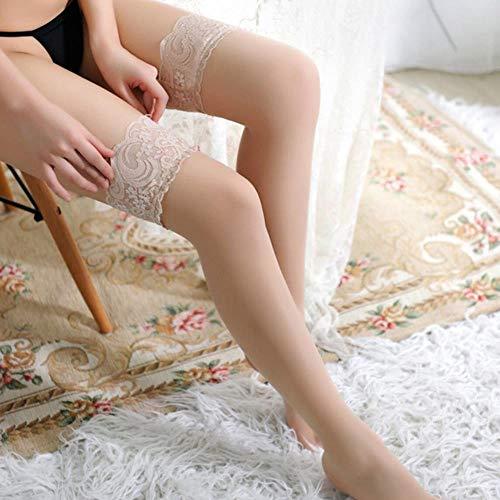 Frauen Plus Size Strümpfe Sexy schiere Oberschenkel hoch bleiben Strümpfe Lace Top Nachtclub Party Strumpfwaren Damen Sommer Erotische Dessous, Nackt, Mit Silikon