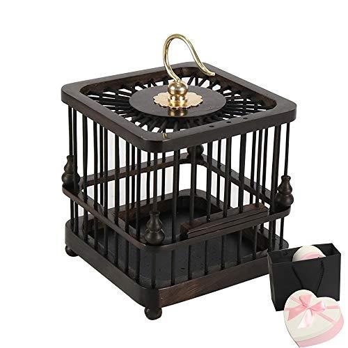 SHIJIU SHIMENG Hecho a mano sándalo/ébano, grillos, escarabajos, caracoles, mariposa, jaulas de pájaros, decoraciones, accesorios. Caja de regalo en forma de corazón (negro)