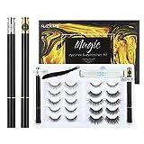 Magnetic Eyelashes with Eyeliner Kit, 2 Liquid Eyeliner Black & Clear, 10 Pairs of Reusable 3D 5D Eyelashes Natural Look, Safer False Eyelashes and Eyeliner(No Glue/Magnets)
