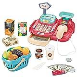 Dkinghome 26PCS caja registradora Till Pretend Play Supermercado Toy Set con escáner cesta de compras para niños niños niñas (rojo)