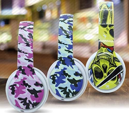 Mood Milano Rock-Style hoofdtelefoon met gekleurd camouflage-patroon, AUX-kabel zonder microfoon en beller Blauw