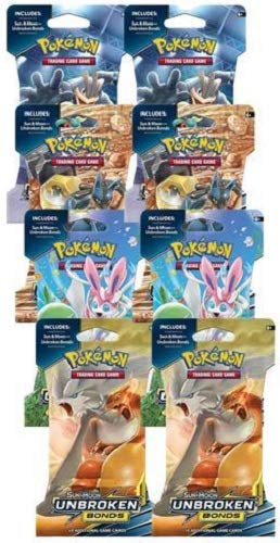 Pokemon Unbroken Bonds TCG Sun & Moon lot: 8 Factory Sealed Booster...