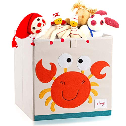 Vmotor Foldable Animal Canvas Storage Toy Box/Bin/Cube/Chest/Basket/Organizer For Kids, 13 inch(Crab)