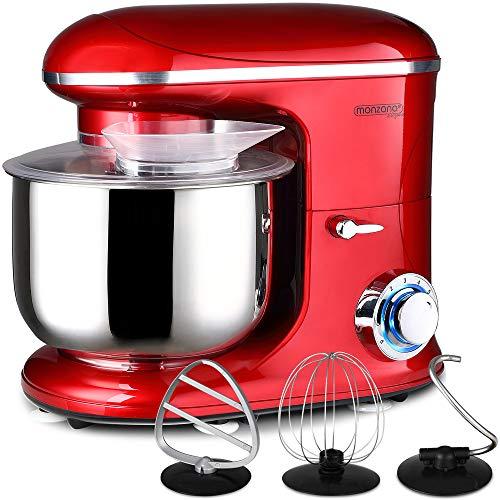 Monzana Robot de cocina multifunción Rojo batidora amasadora mezcladora con bol de 6L 3 accesorios y 7 velocidades