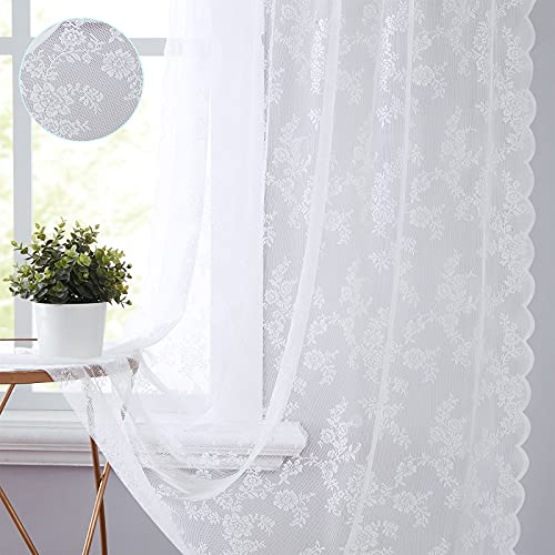 """White Lace Curtains 84 Inches Long 2 Panels Pastoral Rose Floral Embroidered Sheer Curtain Panels for Bedroom Light Filtering Airy Snow White Rod Pocket Window Treatment Sets for Living Room, 55""""w"""