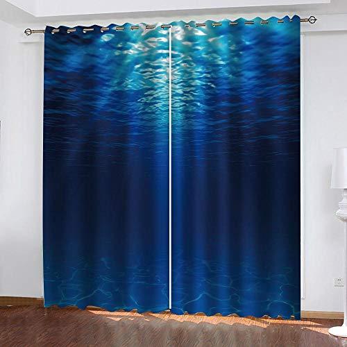 CURTAINSCSR 3D gedruckte Vorhang Blaues Meer Thermovorhang Verdunkelungsgardine Lichtundurchlässige Vorhang mit Ösen für Schlafzimmer Wohnzimmer Geräuschreduzierung 2Panel75x166cm