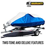 """Budge Deluxe Jet Ski Cover Fits Jet Skis 116"""" to 135"""" Long, Blue/Gray"""