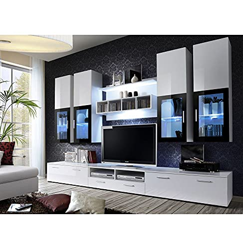 ASM Ensemble Meuble TV Mural - Lyra - 300 Cm X 190 Cm X 45 Cm - Blanc