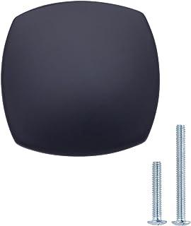 AmazonBasics - Pomo de armario redondo y cuadrado 32 cm de diámetro Negro liso Paquete de 25