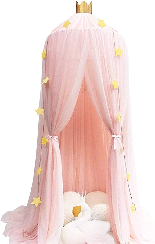 Dix Rainbow Princess Bed Canopy Mosquito Net For Kids Baby Bed Round Dome Kids Indoor Outdoor Castle Play Tent Hanging House Decoration Reading Nook Cotton Canvas Coral Pink Pink Mesh