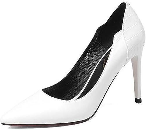 Hope zapatos De Tacón Alto En Punta De Cuero Para mujer zapatos De Corte En La Oficina Trabajo En Oficina Vestido De Fiesta Bombas (negro blanco)