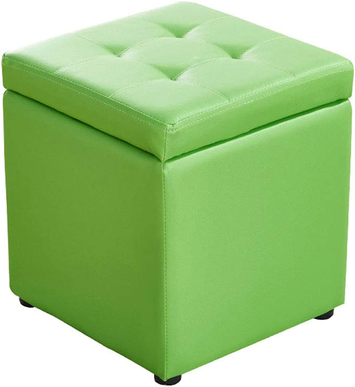 HY Storage Stool Multi-Function Storage Home Leather Square Living Room Sofa Small Bench (color   Green, Size   L30CMXW30CMXH35CM)