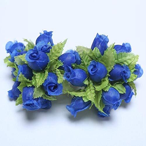 12 stks mini kunstbloem zijde rose bloemboeket voor bruiloft woondecoratie diy krans plakboek accessoires, diepblauw