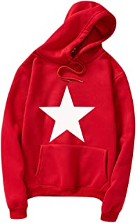 MIS1950s Men's Casual Sweatshirt Five-Pointed Star Print Hoodie Top Outerwear