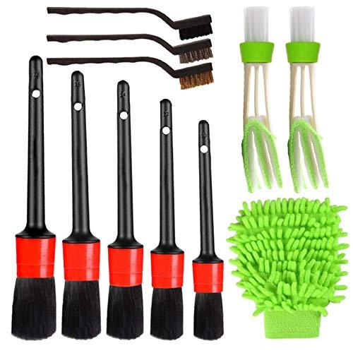 Leeofty Juego de 11 cepillos para limpiar el automóvil que incluye un cepillo para detalles de primera calidad, un cepillo de alambre y una manopla para lavado de autos, un cepillo para aire acondicio